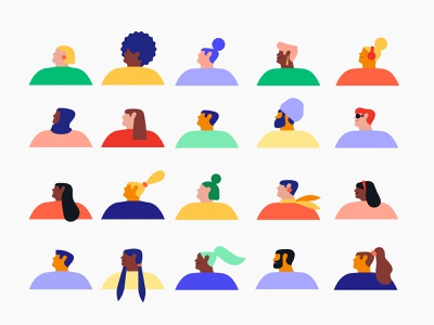 Diversity through characters simplistic colorful geometric minimal color hairstyles hairstyle hair head difference inclusion inclusivity diversity illustration syste character illustration character design shapes illustration illo