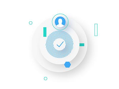User verification ✔️ verification startup fintech financial drop shadow white shapes identification user check web illustration