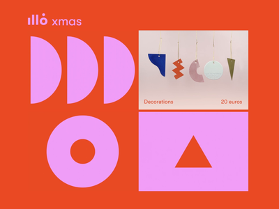 ★ illo xmas mini market ★ brand identity geometry shapes contrasts colors color block product design christmas xmas webdesign motion animation gif