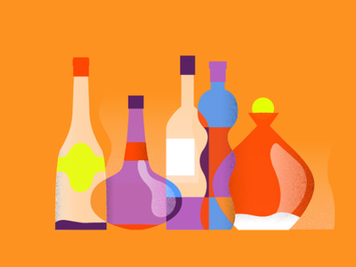 CNN - Live Longer illustrator habits editorial illustration textures bottles alcohol drinks colors