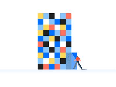Color-block building door house grain building illustration enterprise enter corporate primary color-block geometry tiny character