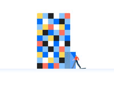 Color-block building