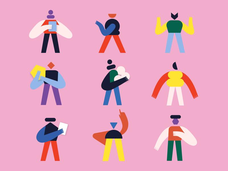 Hi little humanoids 🖖 minimalism robot human geometric geometry characterdesign flat color shapes character illustration illo