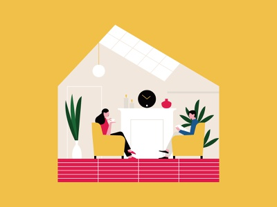Cozy houses relax plant character design yellow home house contrast color flat character shapes illustration illo