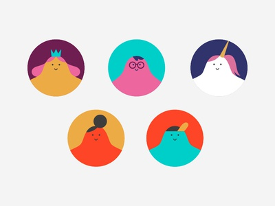 (Un)conventional users contrast user ux princess unicorn icon characterdesign ui design flat color vector character shapes illustration illo