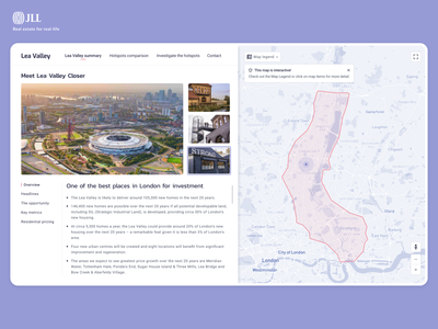 Lea Valley web app for JLL web dashboad map realestate design minimal webapp ux ui