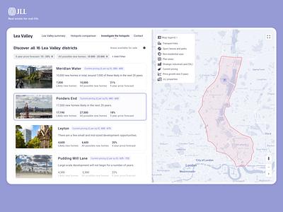 Investigate the Lea Valley list realestate app web ux ui minimal design