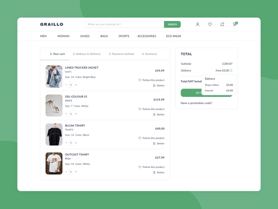 GRAILLO Shopping Cart ecommerce shop shopping basket shopping cart checkout ecommerce web ux ui design minimal