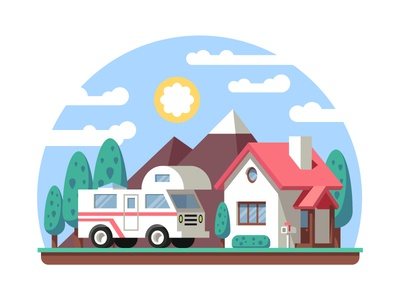 Today I discover Dribbble... debut rv motorhome landscape home tourism hiking fresh air traveling