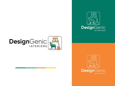 DesignGenic Interiors brand mark inspiration interior logo creative logo logo illustrator illustration minimalist flat logo logotype logomark brand identity logo identity minimalist logo logodesign interiordesign