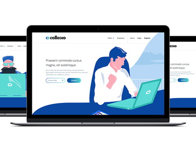 Collocio - Home Page recruitment jobs clean minimal flat illustration responsive web page landing collocio