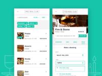Restaurant booking website interface