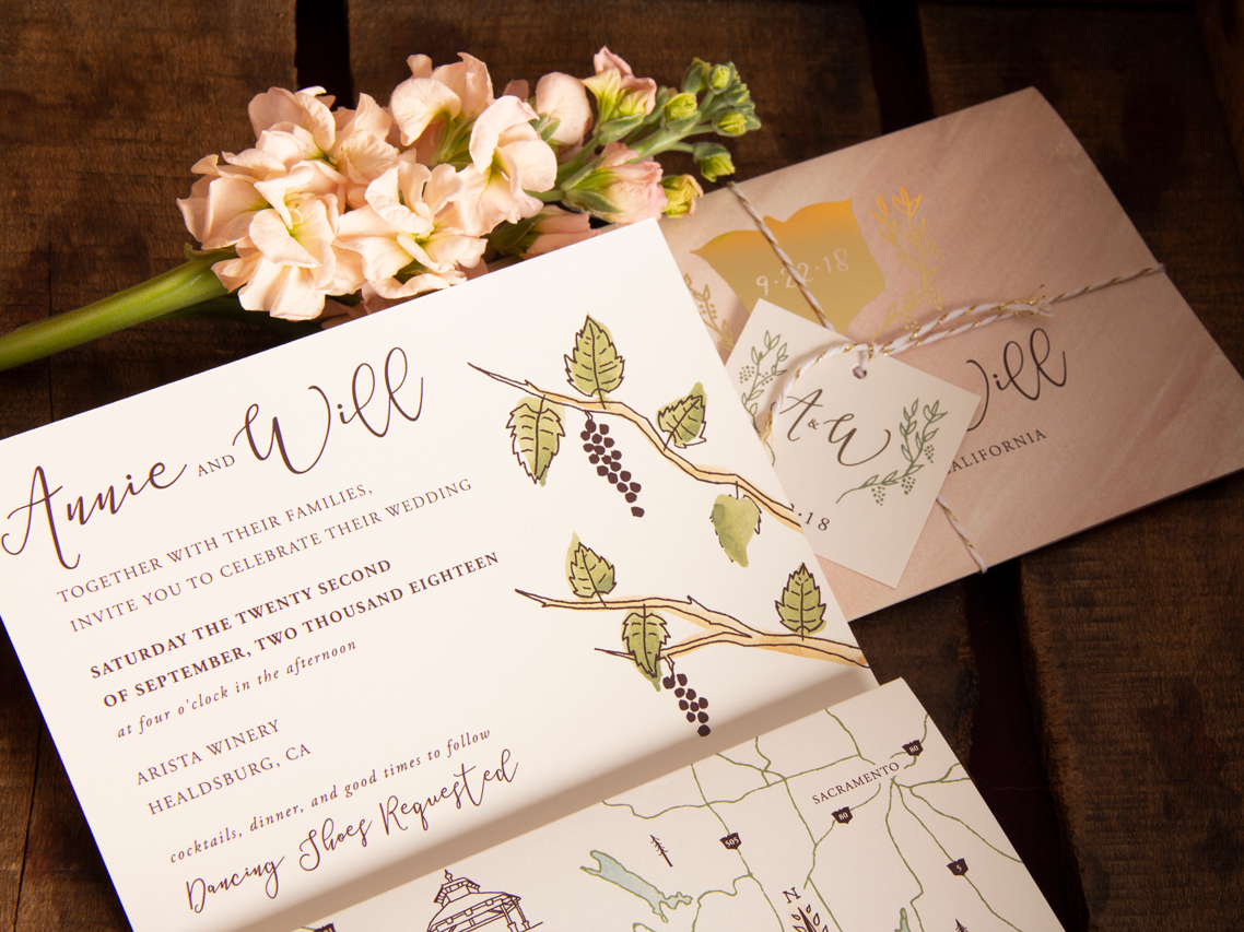 Wine Country Wedding Invitation Detail wine country wine stationery wedding