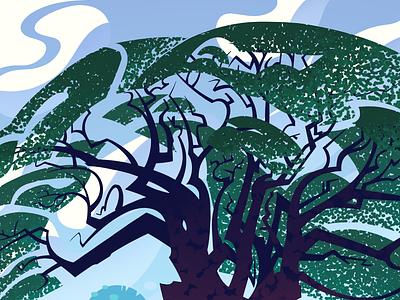 Recreating memories: Songkla thailand illustrations trees stylization design illustration
