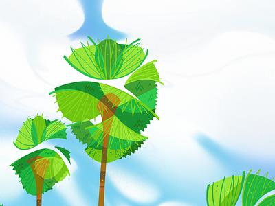 Recreating Memories Phetch02 sky blue sky design phetchaburi palmtree palm trees palm tree palms palm editorial stylized illustrations illustration