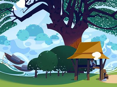 Recreating Memories: Songkla rural shape shapes gazebo nature trees countryside thailand riverboat river songkla songkla design stylized illustrations illustration