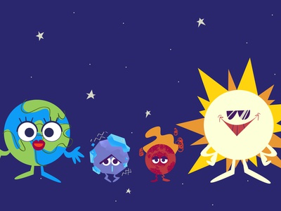 Wit The Series Ep.03 : Early key visual planetary star earth sun space planets science solar system characterdesign infographic animation stylized illustrations illustration