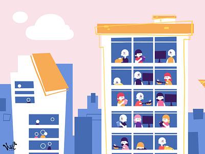 WIT THE SERIES EP.01: Keyvisual 03 urban social distancing urban life self-quarantine quarantine coronavirus covid-19 science infographic characterdesign design stylized animation illustrations illustration