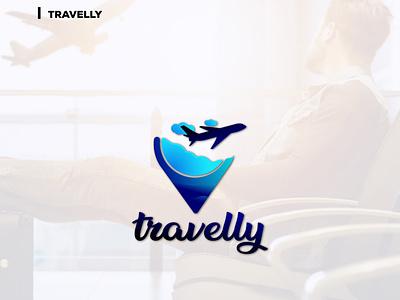 Tavelly simple unique tour agency trip flight airplane gradient minimal travel vector ui logo illustration clean icon graphic design design creative branding