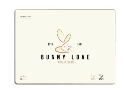 Bunny Love print web coffeehouse bunny coffeeshop coffee unique minimal logodesign logomark vector ui logo illustration icon graphic design design creative clean branding