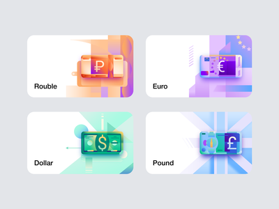 Small illustrations for profee pound dollar euro rouble cartoon wallet finance profee icon illustration vector tolstovbrand