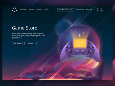Illustration for corporate website (Game Store) game store xsolla vector tolstovbrand cartoon illustration space web design