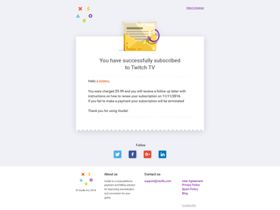 Subscription email template 2 - xsolla email vector tolstovbrand icon cartoon xsolla