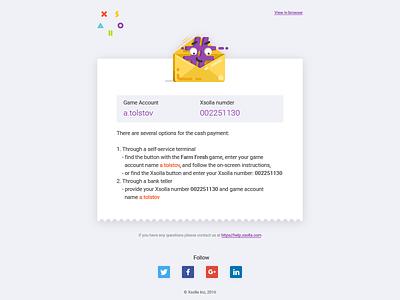 Сheck email template 3 - xsolla xsolla cartoon icon tolstovbrand vector email