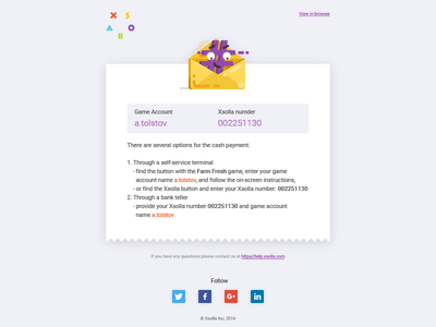 Сheck email template 3 - xsolla xsolla cartoon icon tolstovbrand vector email