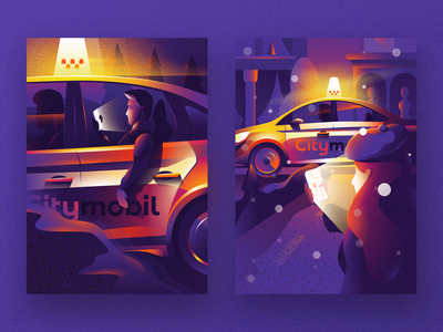 Illustrations for Citymobil taxi citymobil posters cartoon illustration vector tolstovbrand