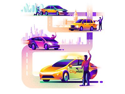 Illustration for Citymobil car didi dache hailo lyft exchange driver citymobil taxi cartoon illustration vector tolstovbrand