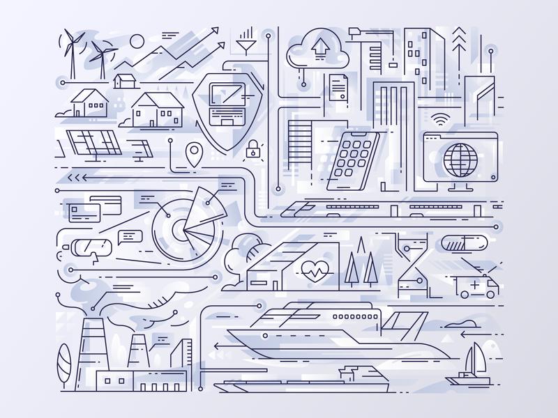 Illustration - digital economy digital economy analytical center icon outline illustration vector tolstovbrand