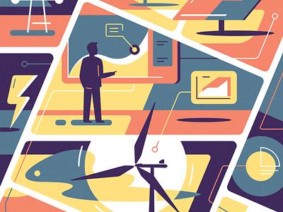 Digital energy analytical center flat digital energy cartoon illustration vector tolstovbrand