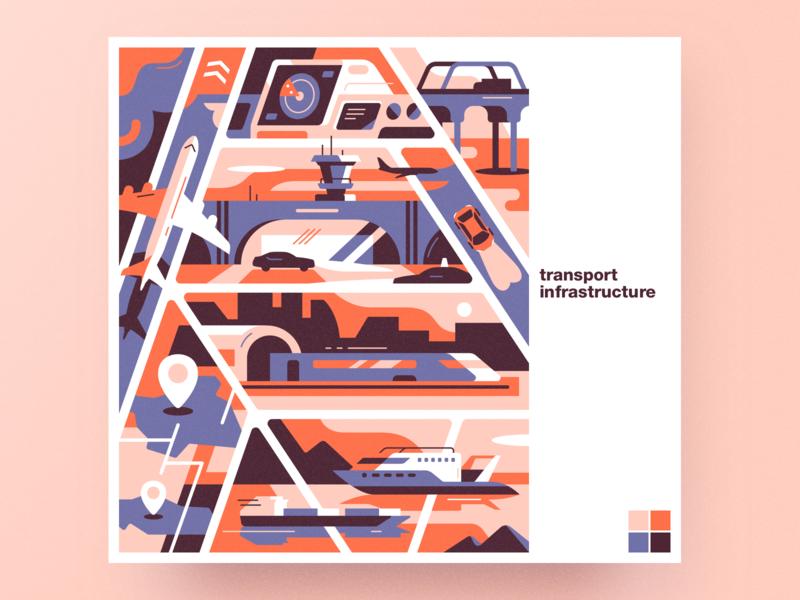 Transport infrastructure analytical center flat transport infrastructure cartoon illustration vector tolstovbrand