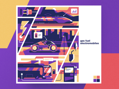 Gas fuel electromobiles analytical center gas fuel electromobiles flat cartoon illustration vector tolstovbrand