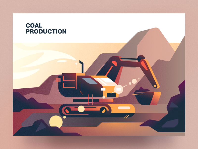 Coal production analytical center coal production cartoon illustration vector tolstovbrand