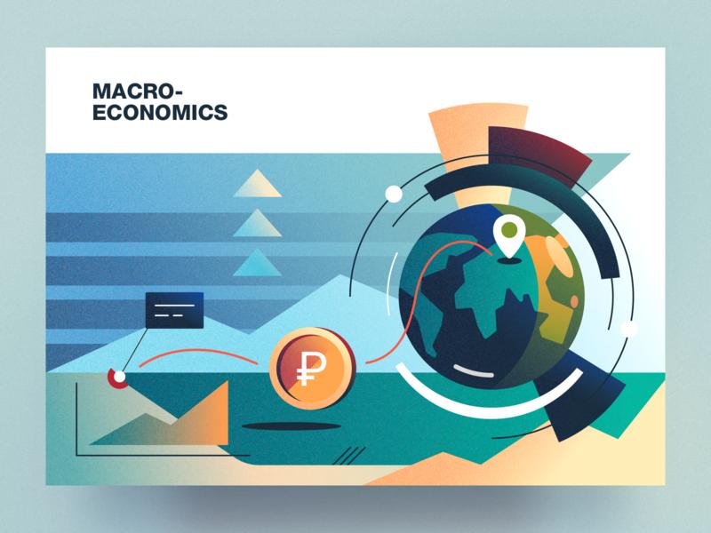 Macroeconomics analytical center macroeconomics cartoon illustration vector tolstovbrand