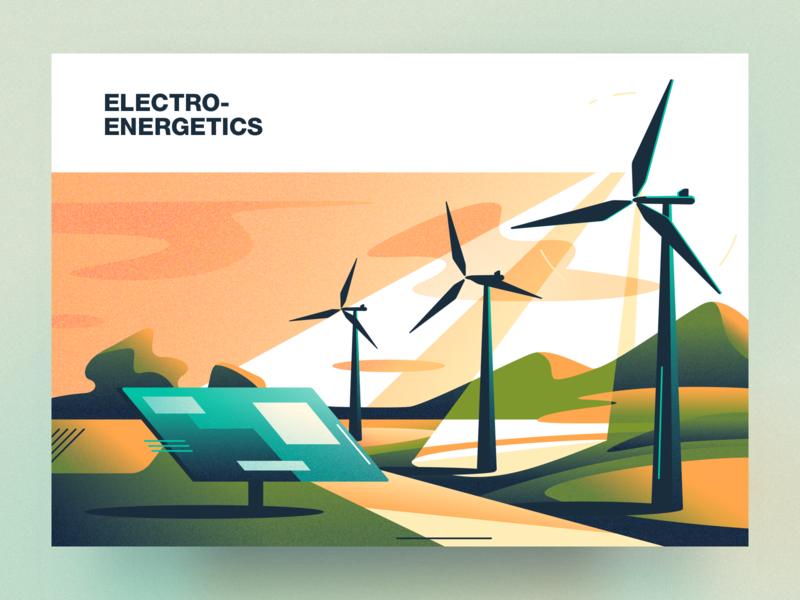 Electroenergetics analytical center electroenergetics cartoon illustration vector tolstovbrand