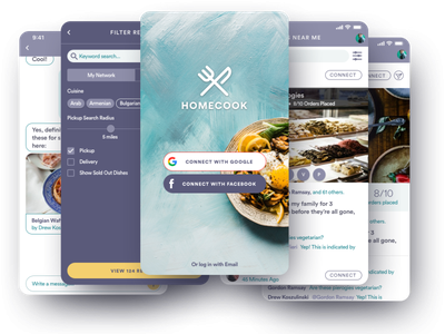 Homecook • Craigslist for Homemade Meals design typography branding app ux ui
