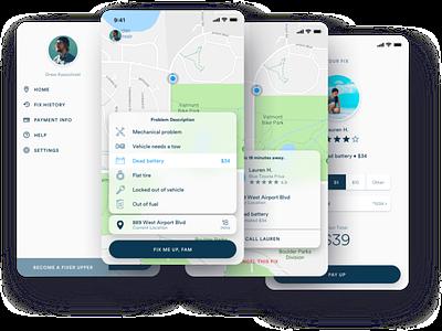 Fix Me Up Fam • Uber for Roadside Assistance design typography mobile app ux ui