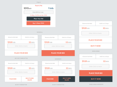 Bidding Card - UX Mockup domains auction bidding ui design ux design web design