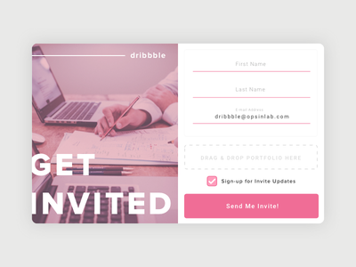 Dribbble Invite from Opsin Lab form signup away give giveaway free invite dribbble