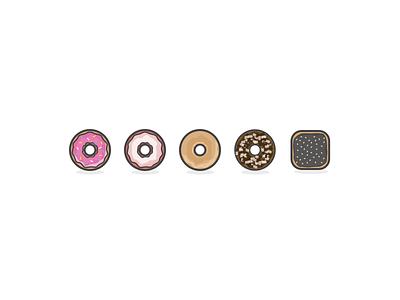 Donut Icons - Case Study Illustrations food donut sketch ux ui design icons illustrations