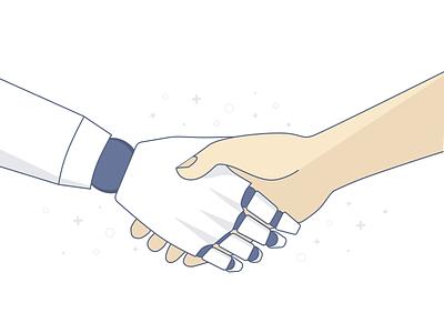 Bot Handshake - Illustration human robot vector sketch illustration handshake bots