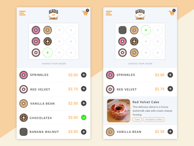 Glazed and Infused Mobile App - Case Study glazed and infused design checkout ordering illustration icons ux ui mobile donut