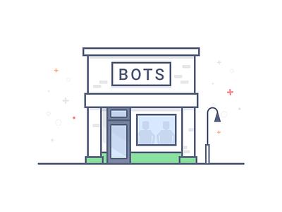 Bot Shop - Illustration sketch vector marketplace store shop bots illustration