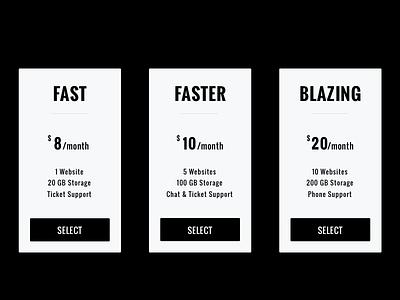 Threshold - Pricing Table ticket storage server hosting modern clean minimal table pricing