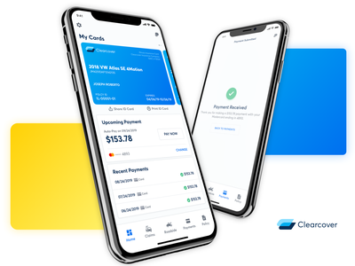 Clearcover Mobile App - V2 Launch android ios modern clean product design insurance company clearcover app insurance mobile ux design ui design ux design ui