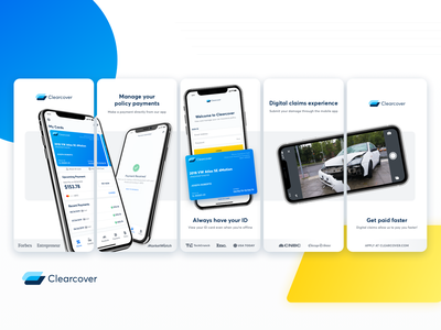 Clearcover - Mobile Application App Store Assets insurance company payment card android ios insurance app product design preview store app insurance mobile ux design ui design ux design ui