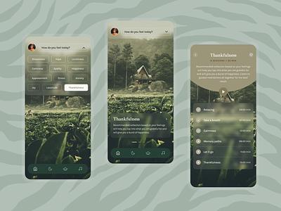 Meditation and Breathing App (Vol 1. Thankfulness) mobile design breath mental health yoga calm playlist navigation meditation player experience design